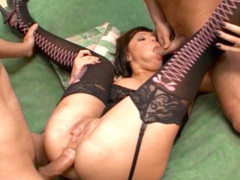 Trina lays back with her spiky heels and her laced up fishnets, spreading her legs to show her gaping pussy and asshole! She wants to start this threesome right, with both cocks squeezed tight in her rear, and then she takes one of them in her mouth. Both dicks pound her ass again, and then this dirty doll goes ATM to finish up with a sticky facial cumshot!video